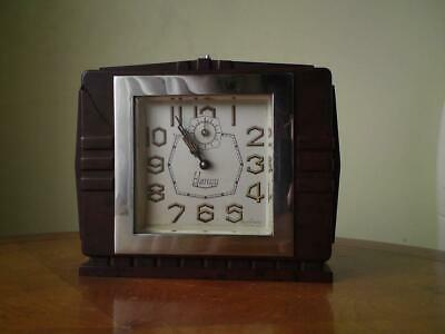 French Art Deco Blangy Alarm Clock chrome bezel bevelled glass Bakelite case