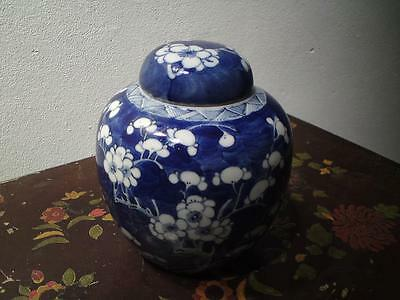 Antique Chinese blue & white porcelain prunus ginger jar with cover lid