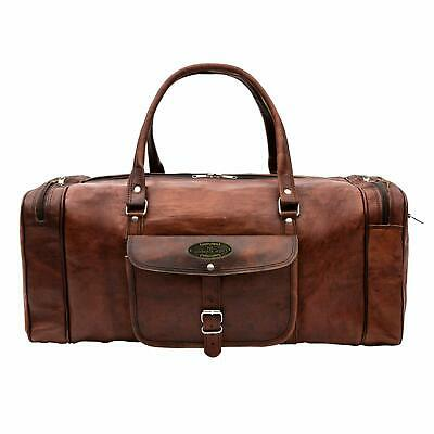 Leather Travel Luggage Bag, Men's Duffel Retro Carry on Handbag Brown Men Women