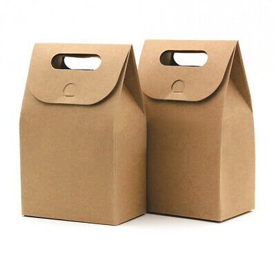 Foldable Kraft Paper Packaging Package Box With Handle Candy Gifts Wedding Party