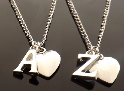 """Personalised Initial 18"""" Necklace with Heart Pendant and Silver Plated Letter"""