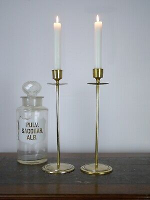 Pair Vintage Arts & Crafts Style Tall Brass 30cm Candlestick Candle Holder