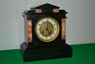 French Black Slate and Rose Marble Mantle Clock by Japy Freres