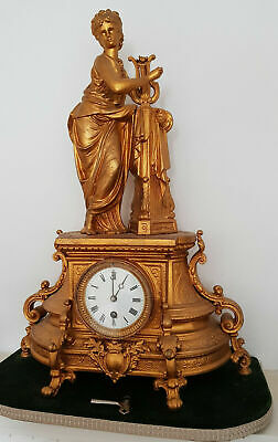 Rare Antique French Gilded Spelter Vintage Gilt Figurine Mantel Clock