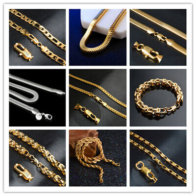 """Chain Stamped 8""""-20""""Long Unisex Necklace  18k Yellow Gold Filled/silver"""