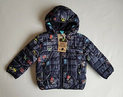 BNWT NEXT Boys Dark Blue Race Car Print Padded Coat Hooded Jacket 12-18 Months