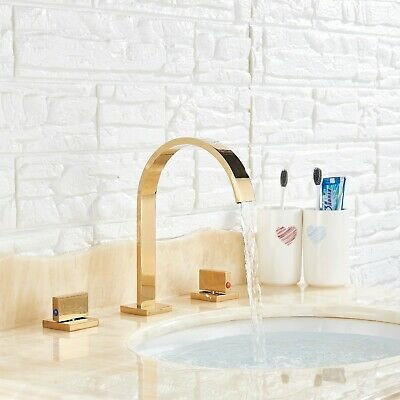 Gold Colors Widespread Bathroom Basin Faucet Waterfall 3 Holes Sink Mixer Tap