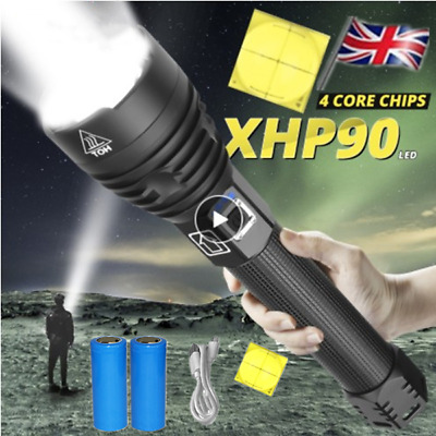 Super Bright XHP90 XHP70.2 Most Powerful LED Flashlight USB Zoom Torch UK STOCK!
