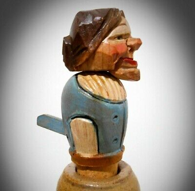 Vint 1930'S Anri (Italy) Hand Carved & Hand Painted Old Wino Bottle Cork Stopper