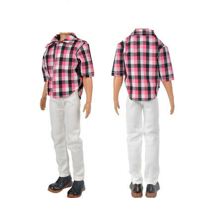 Doll Clothes Casual Clothing Set For Ken Red Check Top UKPL White + Pant F8X8