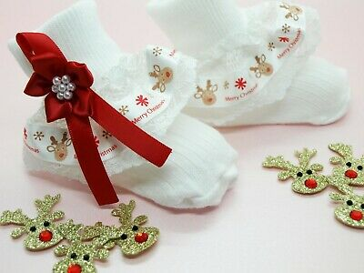 Handmade Baby Girls White Frilly Socks - Christmas Reindeer Lacy Ruffle Socks