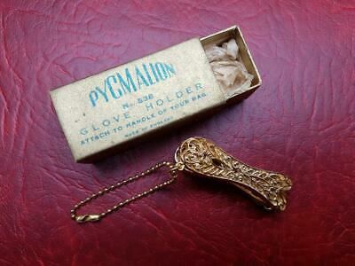 Vintage Glove holder Clip Pygmalion Original Box Gold Tone