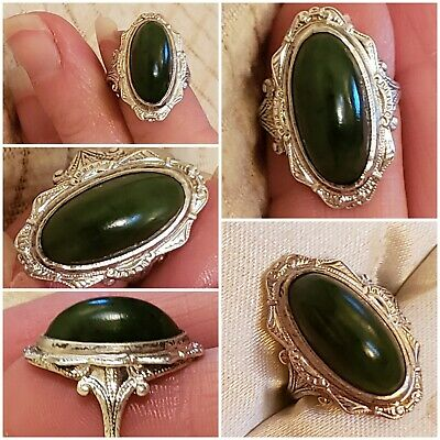 Art Deco Green Moss Agate Ring Size 3.5 Signed Clark & Combs