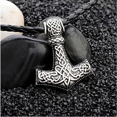 Viking Thor's Hammer Mjolnir Necklace Pendant Leather Chain Norse
