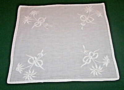 Stunning Whitework Embroidered Table Topper, Doily, Floral,  Pristine White