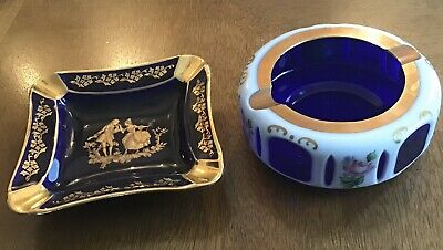 Vintage ashtrays Czech Moser cobalt blue/white glass, French Limoges porcelain