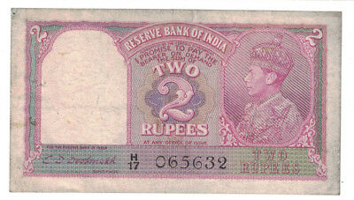 India - ND (1943) 2 Rupees Banknote (P-17b) - King George VI
