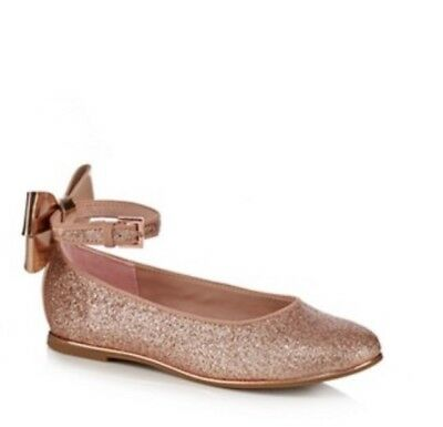Ted Baker - Girls' pink glitter bow back pumps  BNWT RRP £35 Size 6 infant
