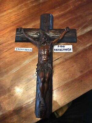 Antique Beautiful Hand Carved Wooden XL Crucifix Cross Black Forest Gothic Super