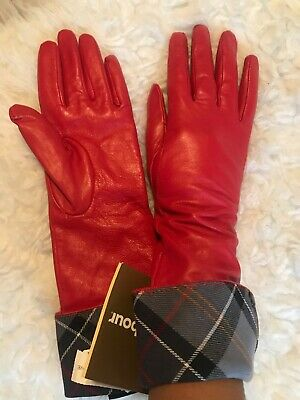 NEW Barbour Lady Jane Long Red Leather Gloves Size Small~Rare Color & Length~NWT