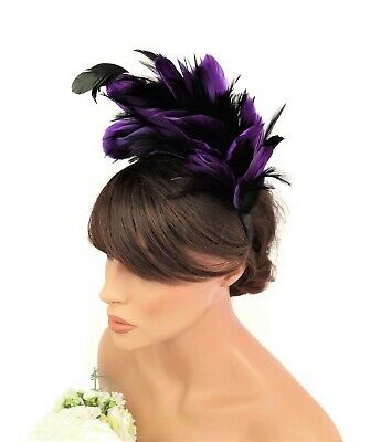 Feather Headband Fascinator Flapper Style Fancy Dress Black and Purple Feathers