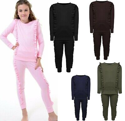 Girls Kids Children's Duel Ruffle Frill Tracksuit Co ord Loungewear Jogger Set