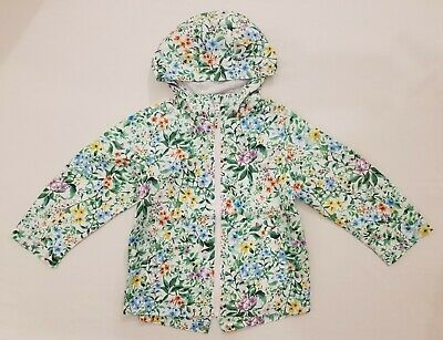 BNWT NEXT Girls  White & Green Floral Print Coat Jacket Cagoule 3-4-5 Years
