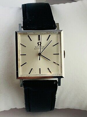 Vintage Omega 25mm Square Automatic Stainless Steel Watch On Omega Leather Strap