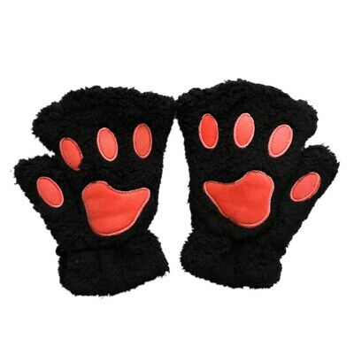 Kids Boys Girls Fingerless Gloves Winter Warmer Mittens Lovely Cat Paw Shape