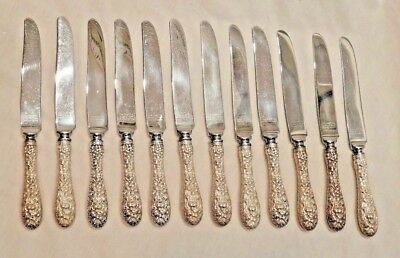 Twelve (12) Antique Rose by Stieff Repousse Sterling Silver Luncheon Knives