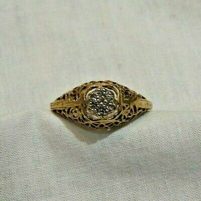 Antique 10K Yellow Gold Filigree Ring with 7 Diamond Accents Size 6.5