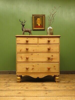 Stripped Victorian Country Pine Chest of Drawers, cottage bedroom chest