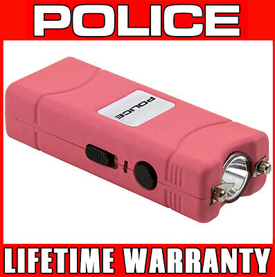 POLICE PINK Micro Stun Gun 801 120 BV Rechargeable With LED Flashlight