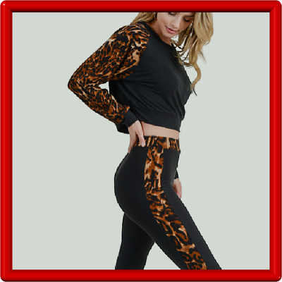 2 Piece Set -  High Rise Leggings with Long Sleeve Top - Leopard Side Stripe