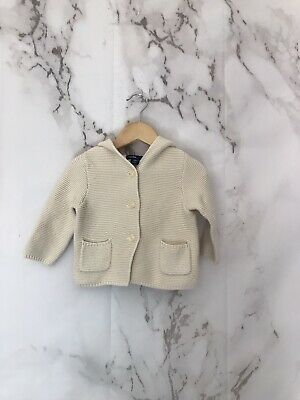 Baby Gap Baby Waffle Knit Sweater Size 6/12 Month Ivory Bear Hooded Cotton