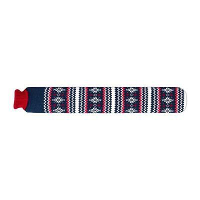 Cerise & Navy Snowflakes Knitted Cover Long Tubular 2 Litre Hot Water Bottle