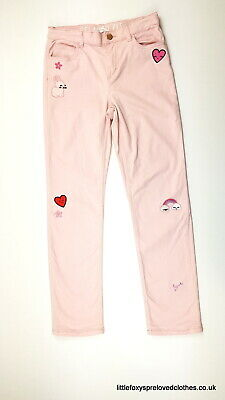 9-10 year H&M pink girls jeans skinny trousers jeggings embroided
