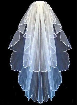 2 Tier White Bridal Wedding Veil With Pearls Comb New