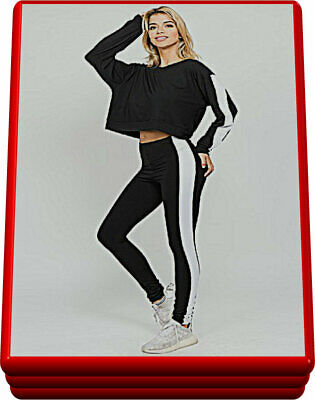 2 Piece Set -  High Rise Leggings with Long Sleeve Crop Top - White Side Stripe