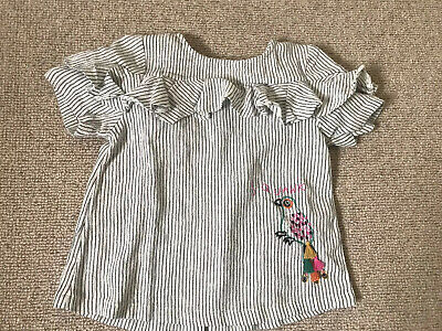 Next Girls Stripe Blouse Top With Ruffle Skeeves And Parrot Detail 3-4