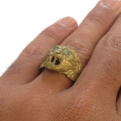 RARE Ancient Bronze Ring Solid Lion HEAD SYMBOL VERY Stunning