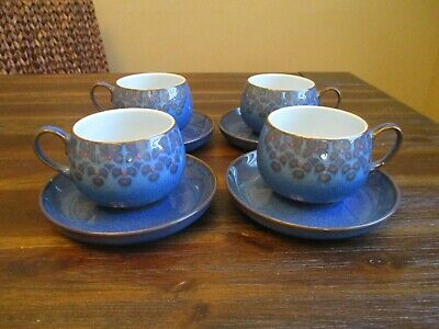 Denby MIDNIGHT Tea Cups & Saucers England Blue & Black Stoneware Set of 4