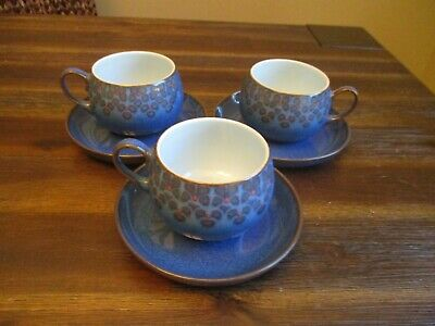 Denby MIDNIGHT Tea Cups & Saucers England Blue & Black Stoneware Set of 3
