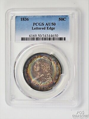 Toned 1836 Capped Bust Half Dollar 50c Silver Coin PCGS AU50 Lettered Edge 12001