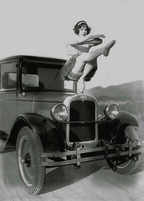 Vintage Photo ... Woman on Hood of 1920's Cheverolet Car . Photo Print 5x7