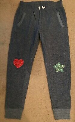 J.crew Crewcuts Girls' Lined Sweatpant With Sequin Heart And Star Size 16 F8303