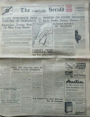 THE HERALD (Melbourne): 20,000th Edition 20/6/41: Complete, 12 pages, War News