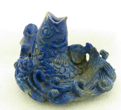 Vintage Chinese Lapis Lazuli Figural Carving of Fish w/Lotus Blossoms / Waves.