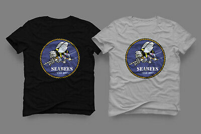 T-Shirt US Navy Seabess Military Armed Force Black & White Tee Size XS - 3XL