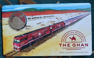 2019 50 Cents The Ghan 90Th Anniversary Unc Coloured Coin **Brand New**